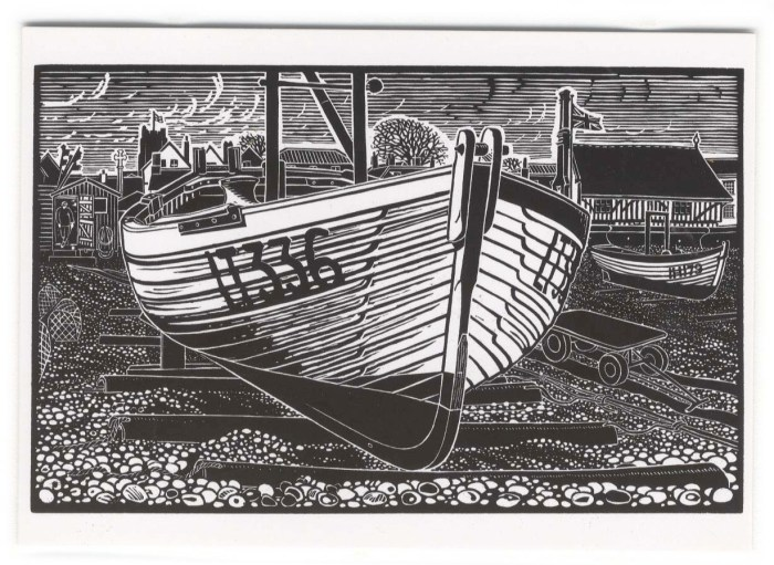 Aldeburgh Beach Boat folding card