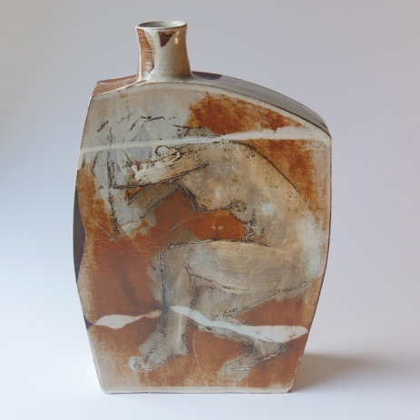 Terracotta. White slip. Black vitreous slip. Tin & rutile glaze.