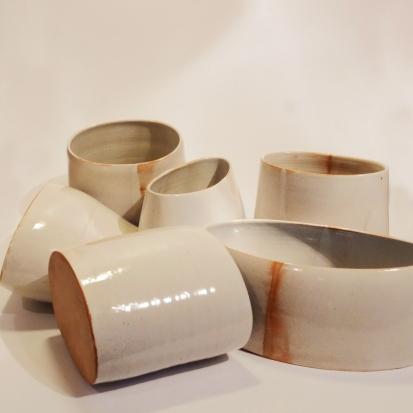 Vases. Special Fleck clay, tin glaze.